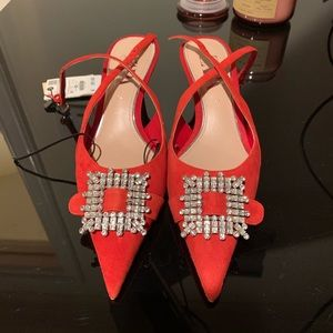 Zara Red Embellished Pointed Heel NWT
